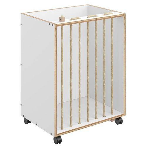 Baú Organizador Cordel 1005 com Rodízios Branco - Be Mobiliário