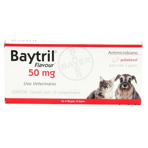 Baytril Flavour 50mg para Cães e Gatos Uso Veterinário com 10 Comprimidos