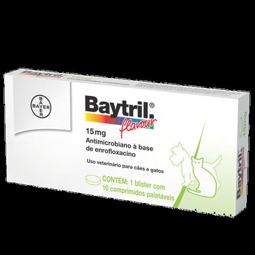 Baytril Flavour Cães e Gatos 15mg – 10 Comprimidos _ Antibiótico Bayer 15mg