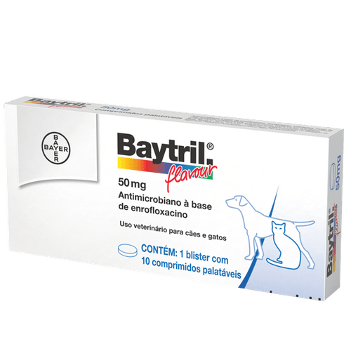 Baytril Flavour Cães e Gatos 50mg – 10 Comprimidos Antibiótico Bayer 50mg