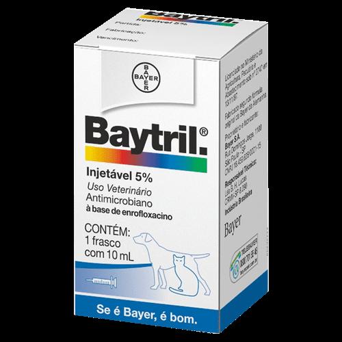 Baytril Injetável Cães e Gatos 5% - 10ml _ Antibiótico Bayer 10ml