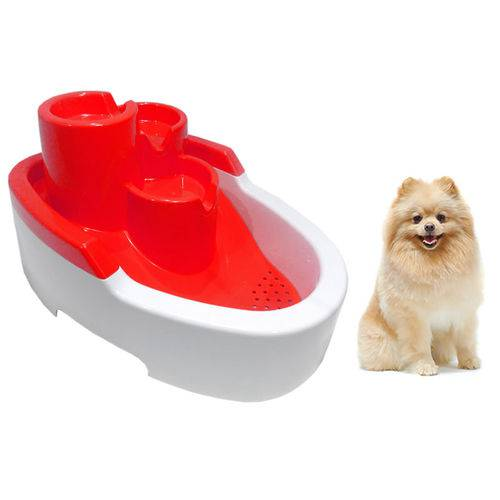 Bebedouro Fonte com Filtro para Cães Pet Gato Cachorro Vermelho Bivolts 2,5L
