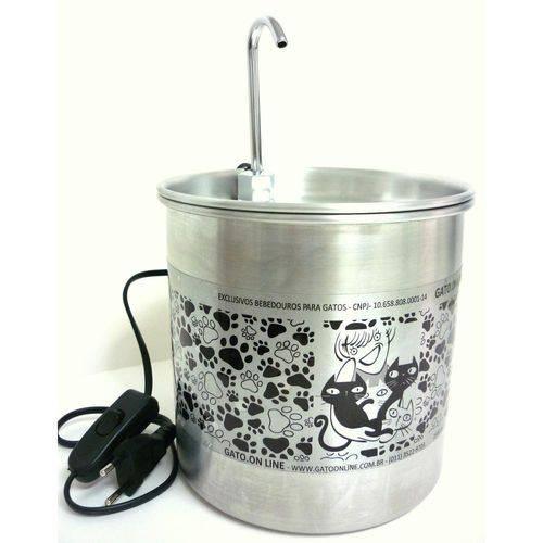 Bebedouro para Gatos Gato Online Alumínio Natural 1700 Ml
