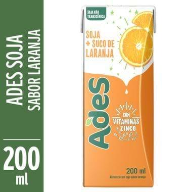 Bebida de Soja Sabor Laranja Ades 200ml
