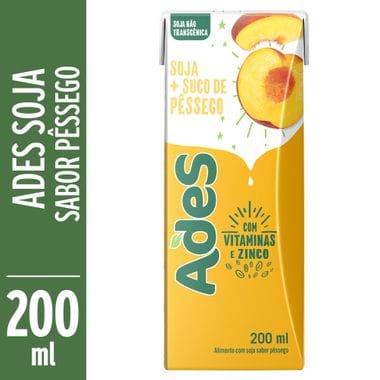 Bebida de Soja Sabor Pêssego Ades 200ml