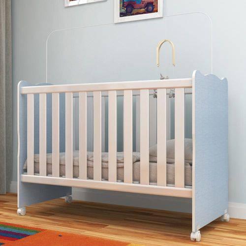 Berço Infantil com Rodízio Arco Íris 62r33pp Azul Linho - Rodial