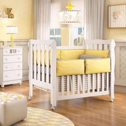 Berço Mini Cama Lila Carolina Baby Branco Brilho