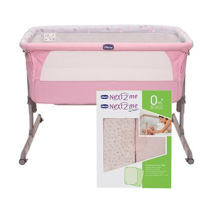 Berço Next2Me Princess + Kit 2 Lençóis de Baixo C/ Elástico Miss Pink (0m+) - Chicco