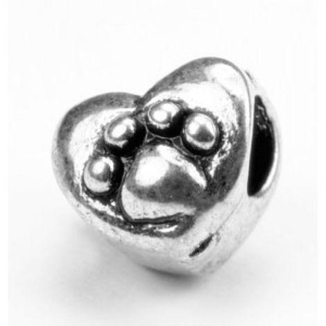 Berloque Coração com Patinha - Flor de Prata Prata Envelhecida