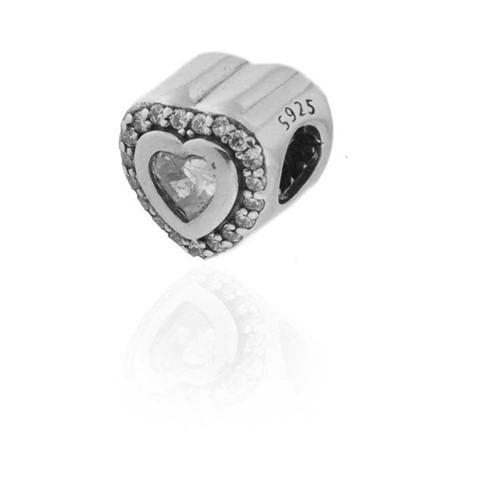 Berloque Prata 925 Coração em Zircônia