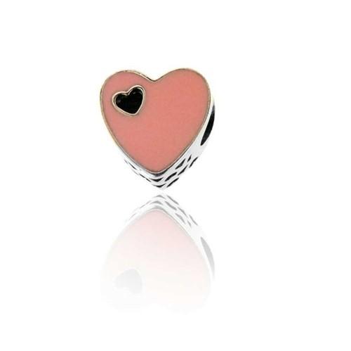 Berloque Prata 925 Coração Esmaltado