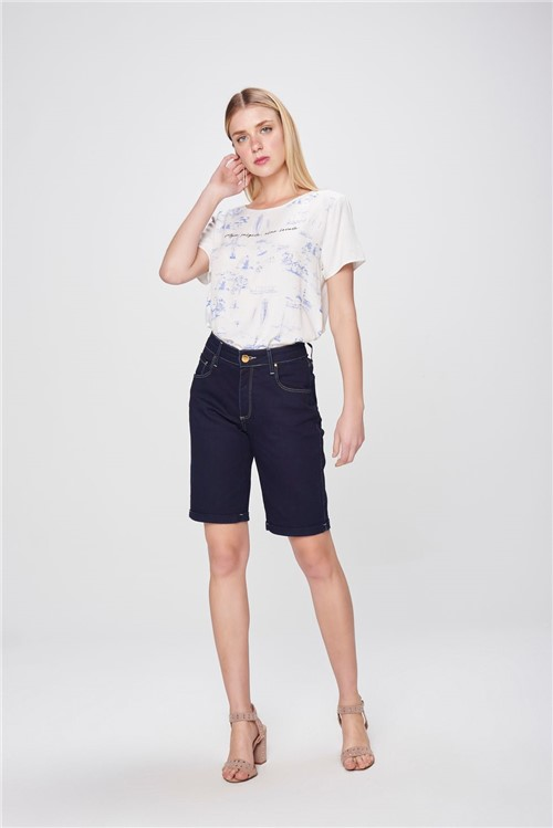 Bermuda Jeans Cintura Alta Feminina