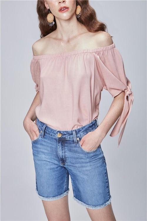 Bermuda Jeans com Barra Dobrada Feminina