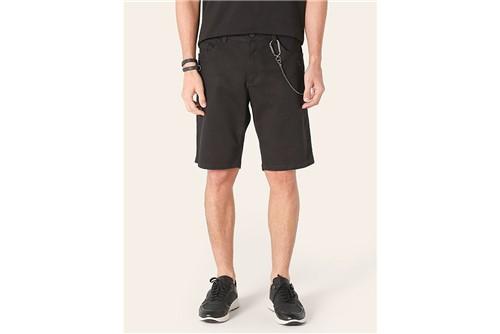 Bermuda Jeans com Puídos - Preto - 38