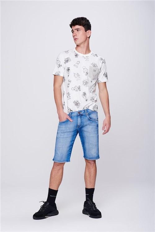 Bermuda Jeans com Recorte Nos Bolsos