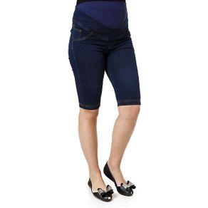 Bermuda Jeans Feminina Gestante Azul 36