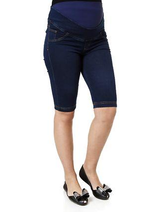 Bermuda Jeans Feminina Gestante Azul