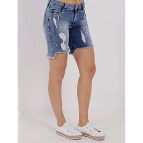 Bermuda Jeans Feminina Mokkai Azul 34