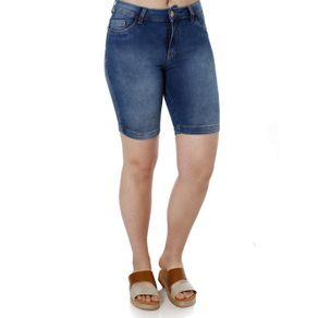 Bermuda Jeans Feminina Mokkai Azul 38