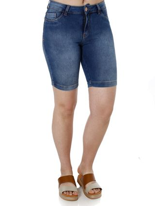 Bermuda Jeans Feminina Mokkai Azul