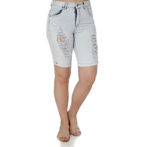 Bermuda Jeans Feminina Uber Azul 36
