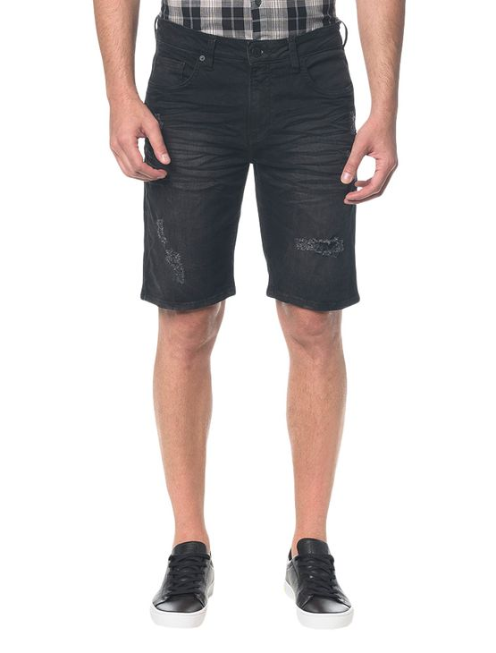 Bermuda Jeans Five Pockets - Preto - 36