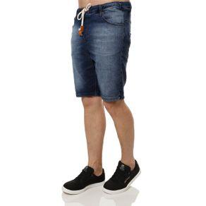 Bermuda Jeans Moletom Masculina Azul 48