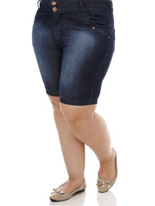 Bermuda Jeans Plus Size Feminina Azul