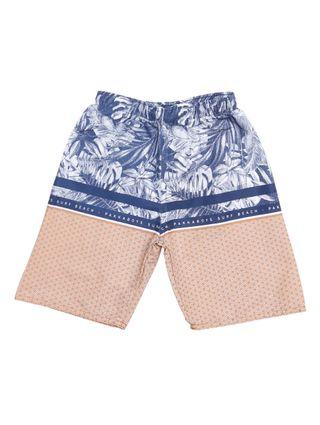 Bermuda Praia Infantil para Menino - Azul/caramelo