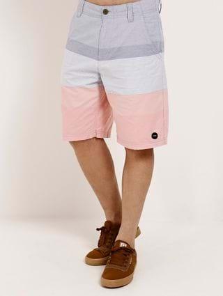 Bermuda Sarja Masculina Cinza/rosa