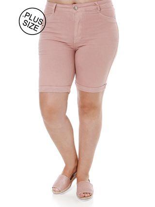 Bermuda Sarja Plus Size Feminino Rosa