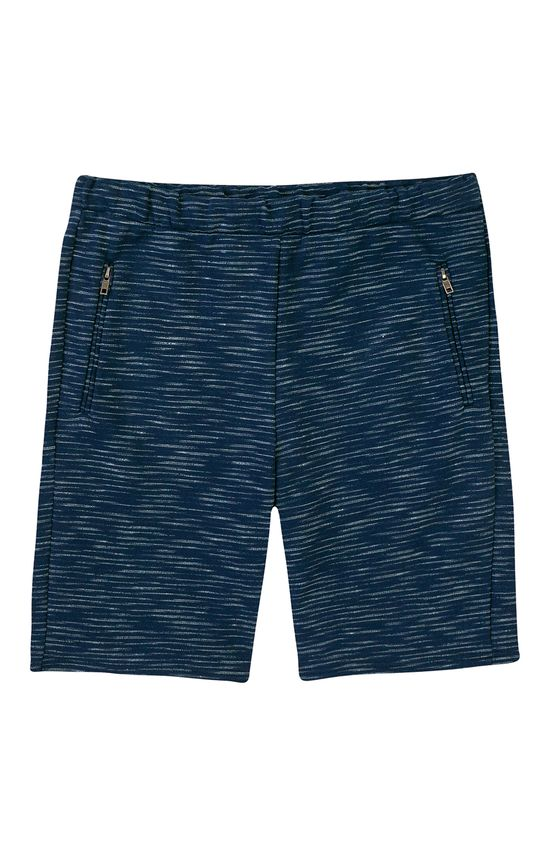 Bermuda Slim Moletom Rajado Enfim Azul Escuro - G