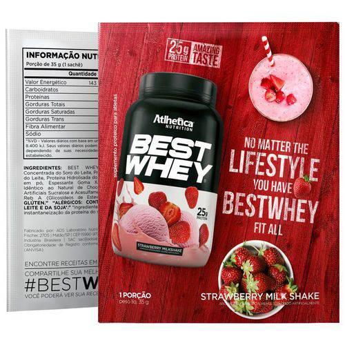 Best Whey - Milkshake de Morango - 1 Sachê 35g Dose Única - Atlhetica Nutrition