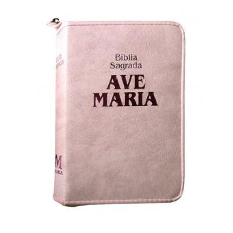 Bíblia Ave Maria com Zíper Média Luxo Rosa