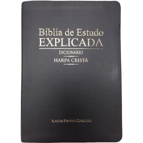 Bíblia de Estudo Explicada Grande C/ Harpa e Dicionário - Preta