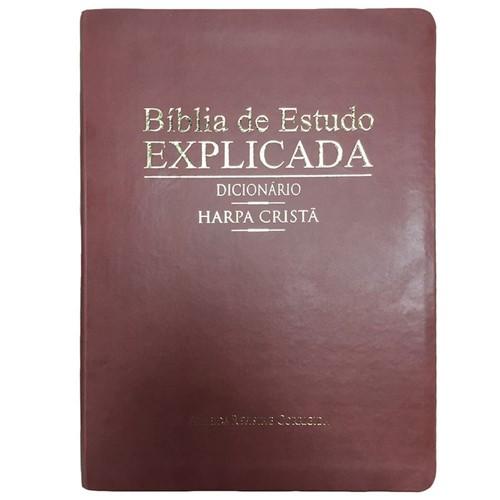 Bíblia de Estudo Grande Explicada C/ Harpa e Dicionário - Vinho