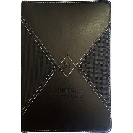 Bíblia de Estudo NVI Capa Luxo Preta e Cinza C/ Índice
