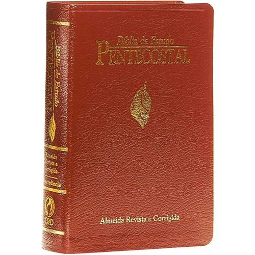 Bíblia de Estudo Pentecostal Luxo Média Vinho