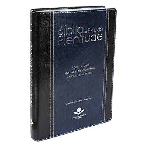 Bíblia de Estudo Plenitude Ra - Luxo Preta e Azul Nobre com Índice