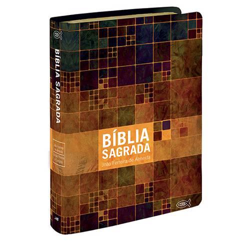 Bíblia Média com Novo Testamento em Duas Cores e Mapa - Capa Luxo Neutra Estampada
