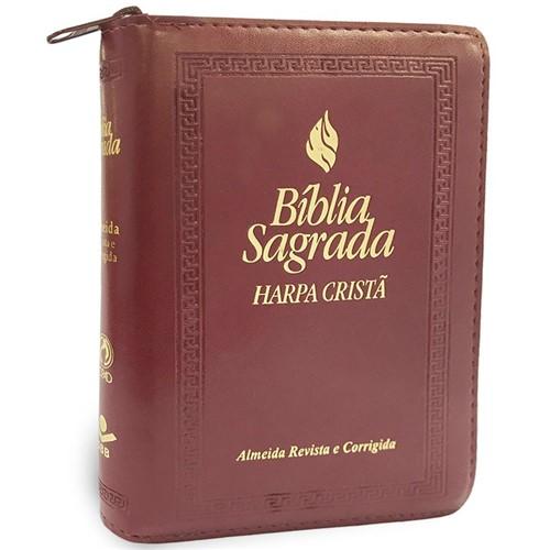 Bíblia Média Harpa Indice Zíper Vinho