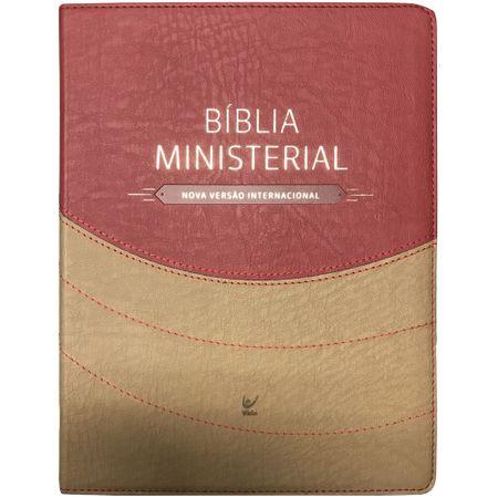 Bíblia Ministerial NVI Marrom Claro e Vermelho S/ Índice