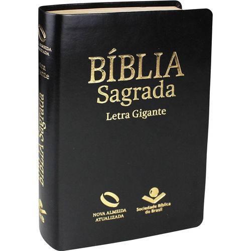 Bíblia Nova Almeida Atualizada Média Letra Gigante - Luxo Preta Nobre