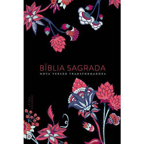 Bíblia Nvt -Flower Preta - Letra Grande