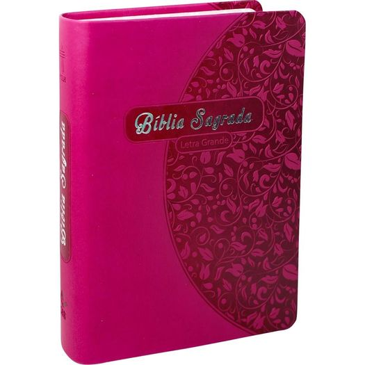 Biblia Sagrada Letra Grande - Capa Rosa Florida - Sbb