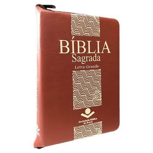 Bíblia Sagrada - Letra Grande com Zíper - Marrom