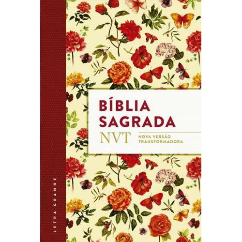 Biblia Sagrada Nvt Flores - Letra Grande e Flexivel