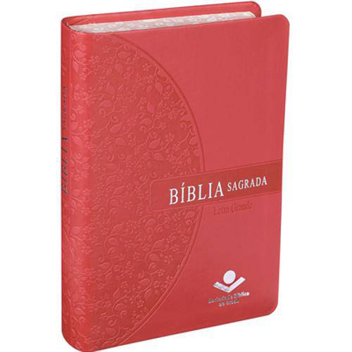 Bíblia Sagrada - Pequena - Letra Grande - Atualizada - Bordas Floridas - Rosa