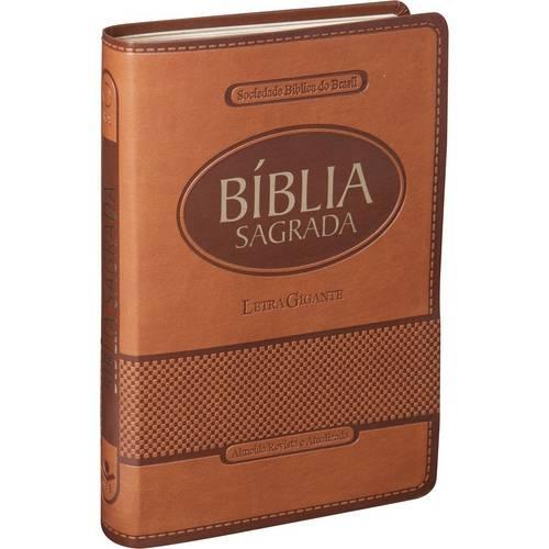 Bíblia Sagrada Ra - Letra Gigante Marrom - Emborrachada com Índice