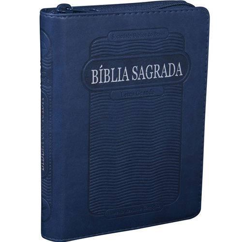 Bíblia Sagrada RA Letra Grande com Zíper - Azul